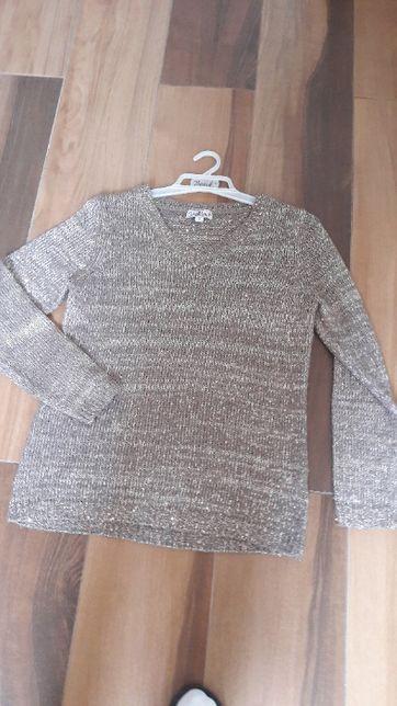 Sweter beżowy z cekinami M - L sweterek melanż