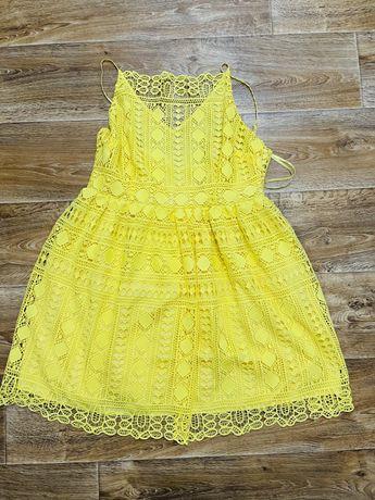 Платье asos 50-52 18 размер яркое желтое платье кружево выбитое