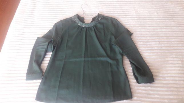Bluzka koszulowa Mohito długi rękaw zieleń 34