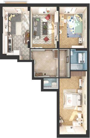 Шикарная 3-х комнатная квартира, дом сдан