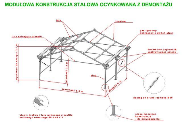 Konstrukcja stalowa ocynkowana modułowa 6.5x6 Hala wiata