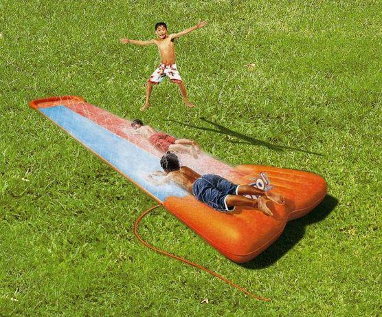 Ślizgawka zjeżdzalnia wodna ogrodowa plac zabaw+fontanna 2tory ślizg6m