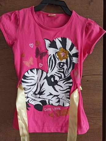 Różowa bluzeczka z zebrą rozmiar 104