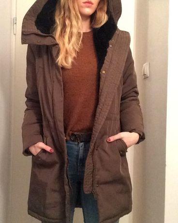 Kurtka płaszcz parka zimowa khaki HM 36