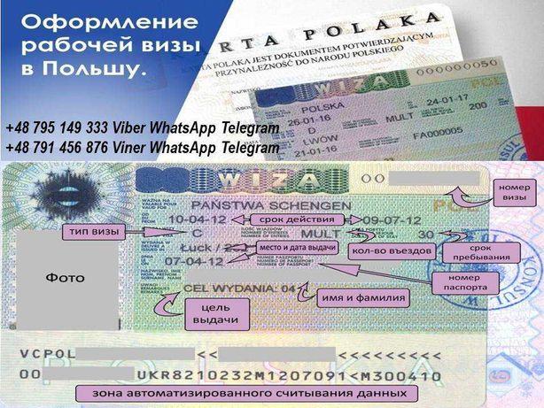 Запрошення на роботу Приглашение Виза в Польшу