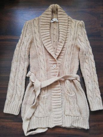 Sweter Zara Knit wiązany rozpinany beżowy