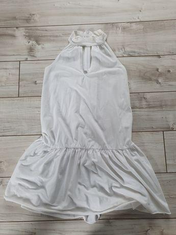 Biała letnia sukienka z wycięciem na dekolcie,rozmiar s