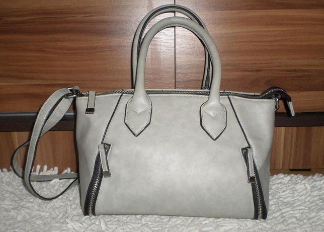 Szary kuferek torebka F&F ozdobne zamki na pasku lub do ręki