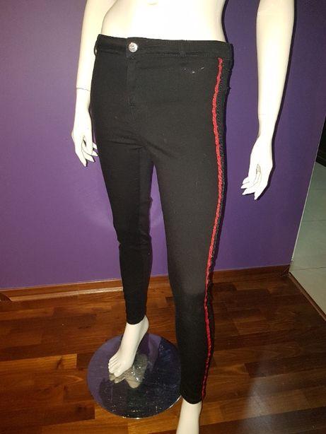 Berska Spodnie jeans czarne z lampasami R 38 - M