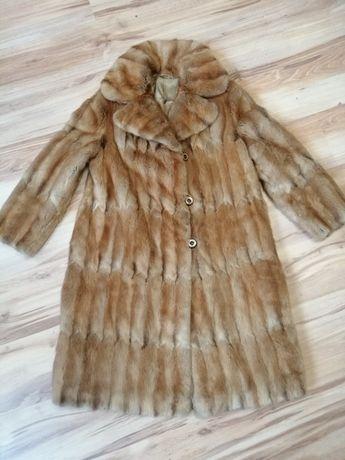 Naturalne futro płaszcz Nutria królik brąz miękkie L XL 40 44 42