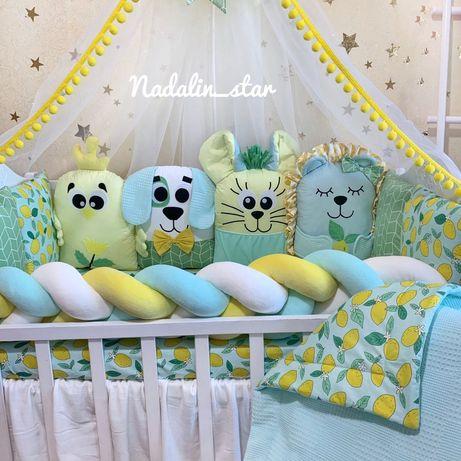 Бортики в кроватку , постельное , пеленки , балдахин , кармашки