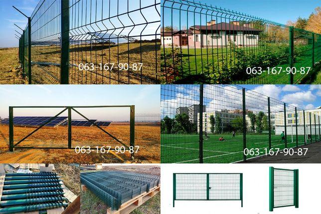 Секции ограждения 3D, Забор, Панели секционные, Секции, Столбы