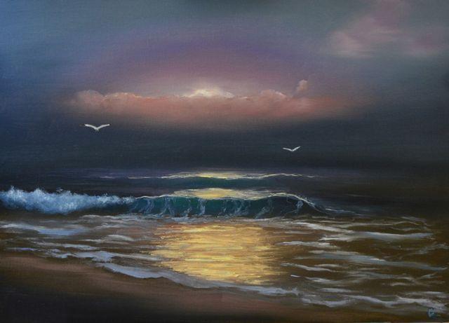 Картина маслом. Морской пейзаж. Морской закат. Картина море. Декор.