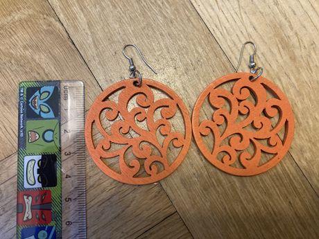 Kolczyki drewniane pomarańczowe