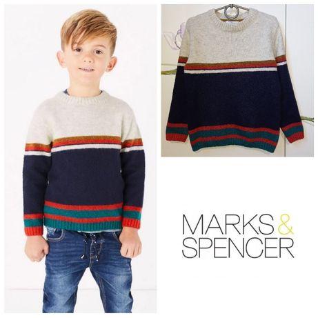 Красивый фирменный свитер свитшот кофта для мальчика M&S 6-7 лет 122