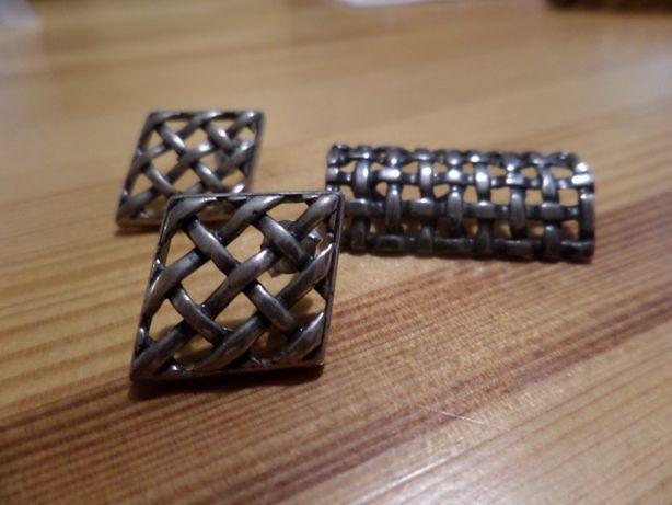 komplet wisior i kolczyki kratka ażurowa srebro