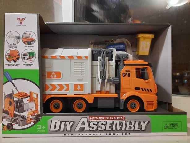 Машинка, конструктор, мусоровоз, YW 9082 A, с отверткой, свет, звук