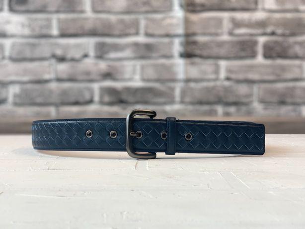 Мужской темно-синий кожаный ремень пояс Bottega Veneta r103