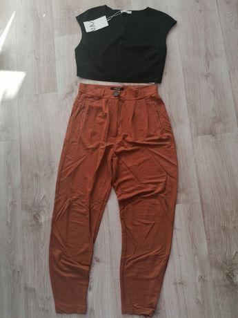 Oddam top Basic Zara i spodnie slouchy reserved