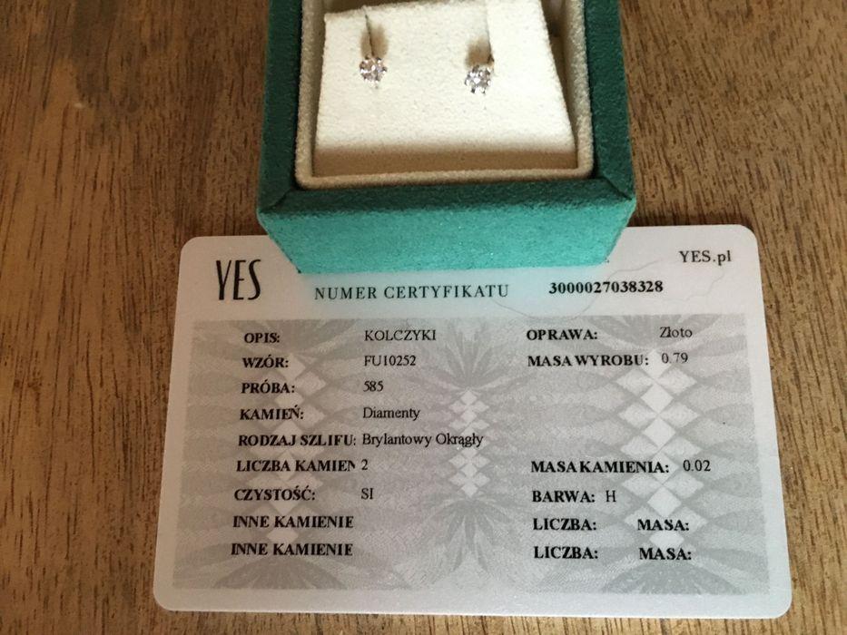 Kolczyki z brylantem w białym złocie. Certyfikat od Yes na zdjęciu Wołczyn - image 1