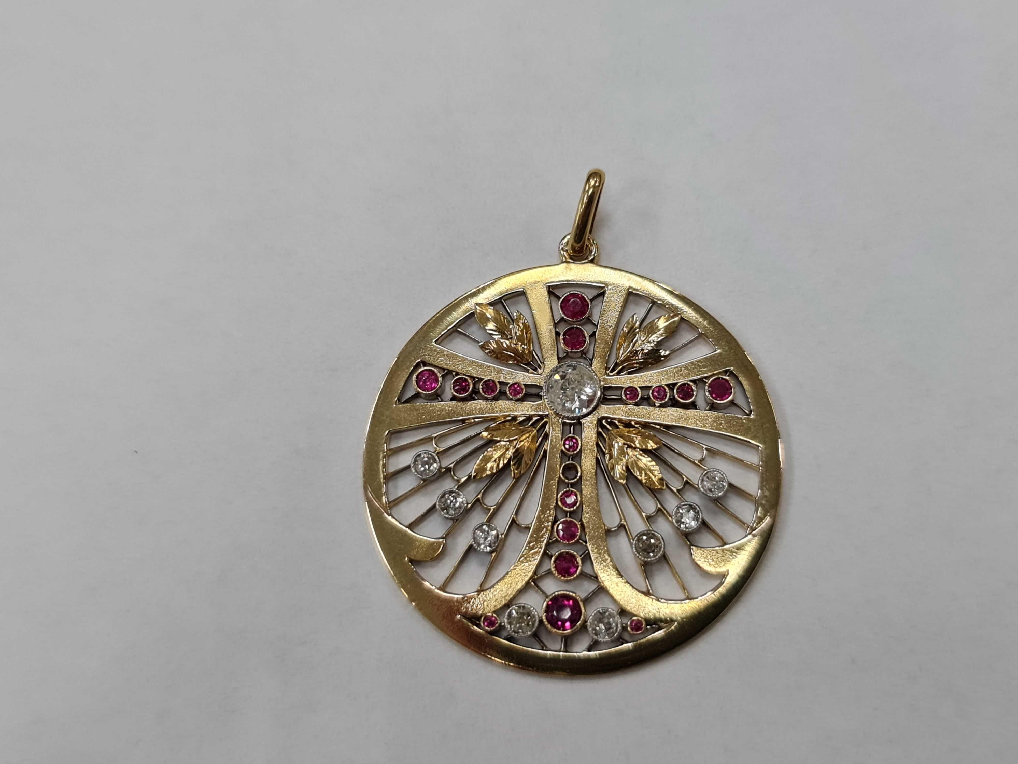 Wyjątkowy złoty wisiorek damski/ 585/ 9.05 gram/ Brylanty / Rubiny