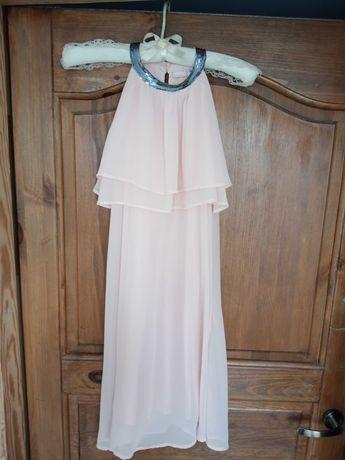 Sukienka 146 różowa z cekinami