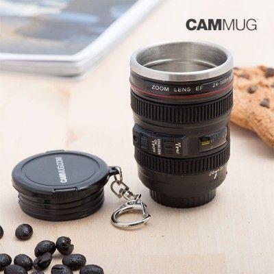 Mini caneca térmica lente porta chaves + caneca objectiva