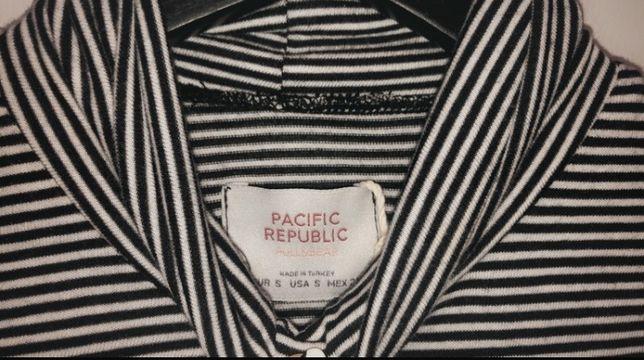 bluzka top golf długi rękaw Pull&Bear czarny biały paski
