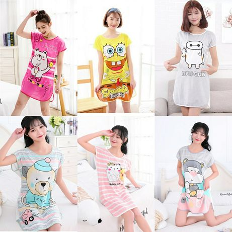Домашнее платье, ночная сорочка, ночнушка, пеньюар, пижама, футболка