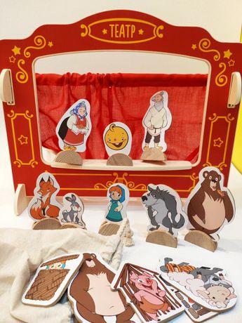 Деревянная развивающая игра Кукольный театр. Три сказки 16 персонажей