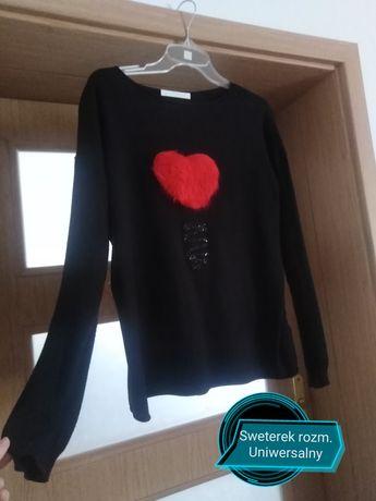 Czarny onesize sweterek czarny z sercem blyzka ciepla