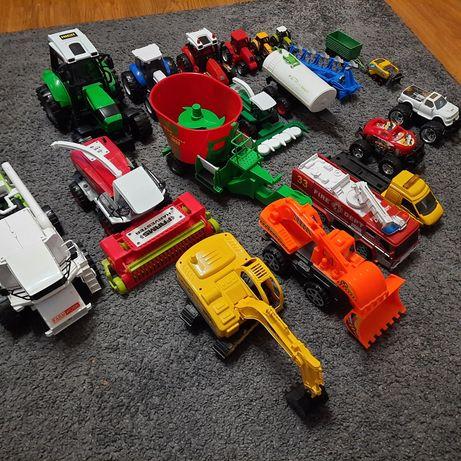 Zestaw zabawek traktor kombajn koparki