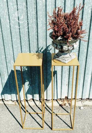 Stojaki 10 sztuk na kwiaty - metalowe, złote, dekoracja weselna