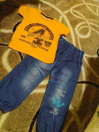 Набор джинсы футболка 104-110