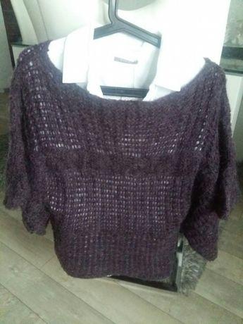 Śliwkowy sweter nietoperz poncho M