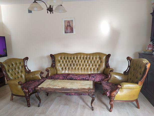 Sofa, 2 fotele ława holenderskie
