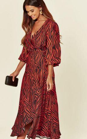 Роскошное длинное вискозное платье-миди на запах