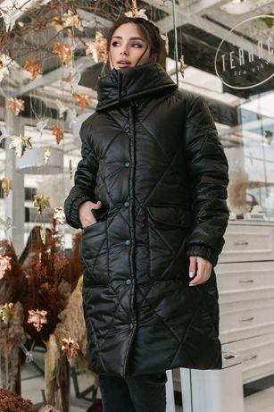 Стильный длинный Пуховик Пальто удлинённое женское Зима очень тёплое