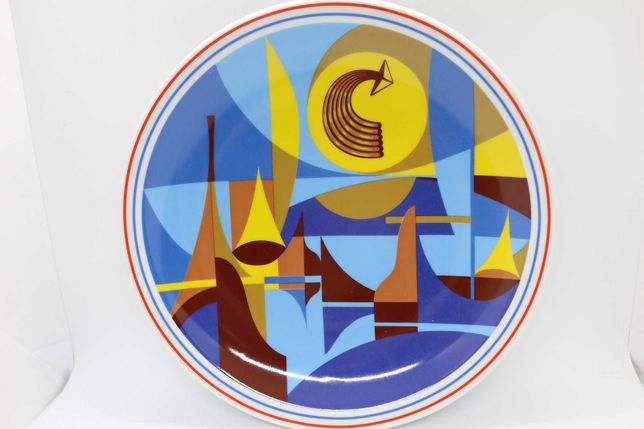 Prato com Obra de Zé Penicheiro Azul numerado e assinado Vista Alegre