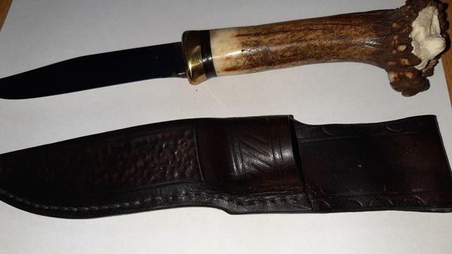 Noż myśliwski z poroza rękodzieło rzezba