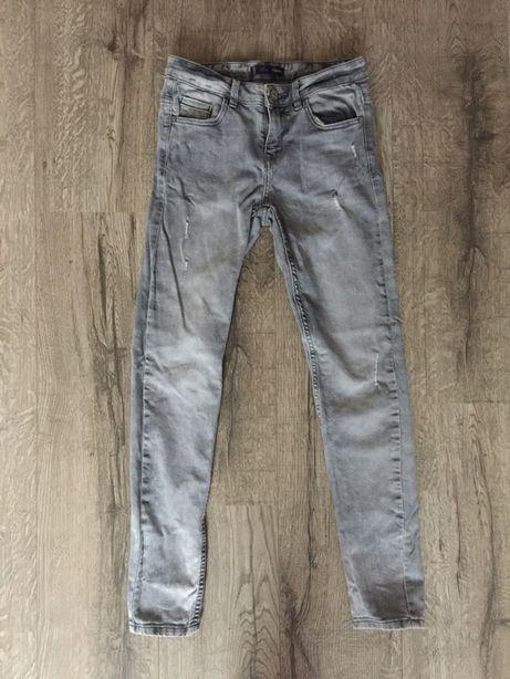 Spodnie jeansowe szare z przetarciami XXS