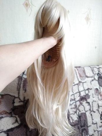 Парик блондинка с челкой длинный ровный
