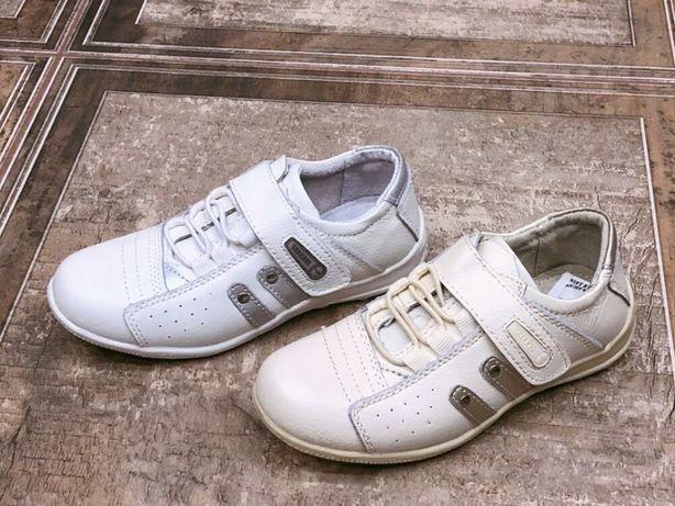 Кожанные полностью детские кроссовки белые,бежевые унисекс - ортопеды