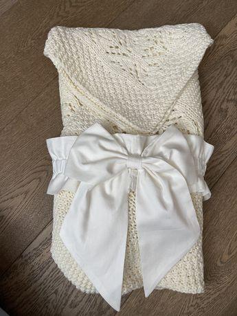 Конверт на выписку, вязаный ажурный плед новорожденному