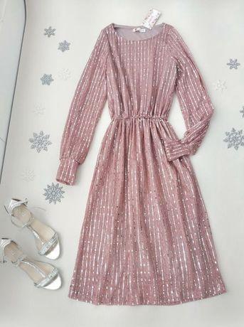 Шикарное сверкающее платье миди с серебристыми пайетками