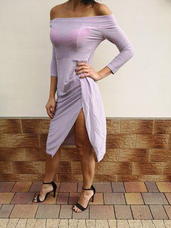 Nowa różowa sukienka z rozcięciem seksowna sukienka Bardot hit sexi