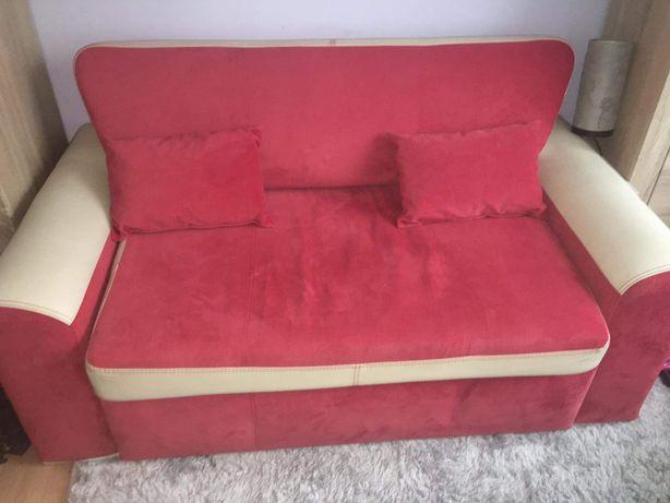 Sofa dwuosobowa rozkładana +2 poduszki beżowo-czerwona
