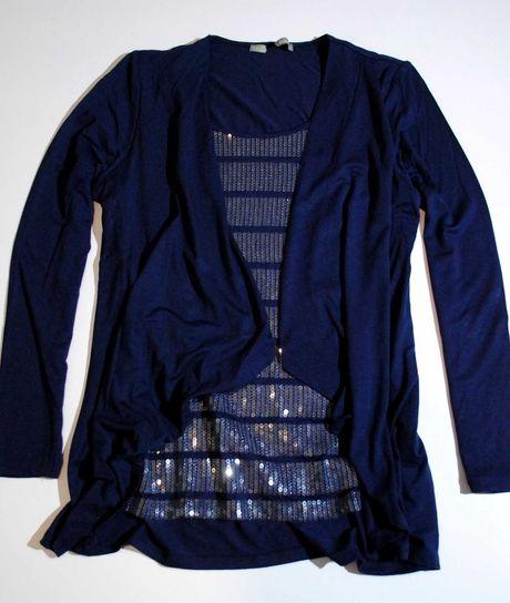 Кофта бренд M&S синяя пайетки блестящая украшена реглан нарядная zara