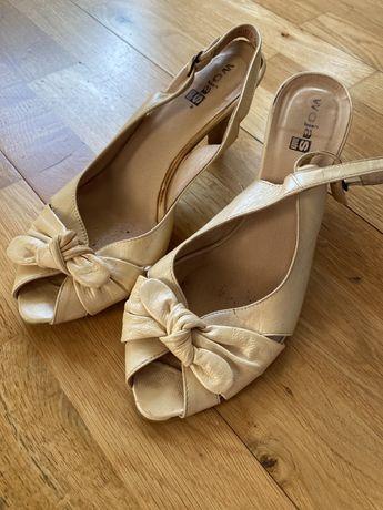 Sandałki sandaly skórzane Wojas 8 cm bez pięty