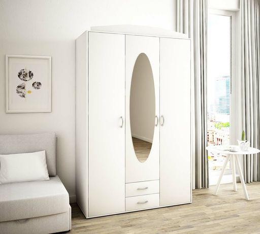 Nowa biała szafa z lustrem 193x127x55cm